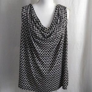 Calvin Klein Sleeveless Shirred Black/White Blouse